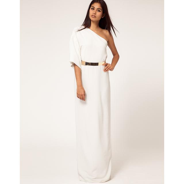 Aqua Kimono Maxi Dress with Metal Belt